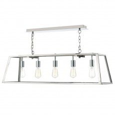 Dar Lighting Academy 5 Light Stainless Steel Pendant