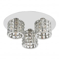 Dar Lighting Agneta 3 Light Polished Chrome Flush