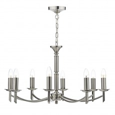 Dar Lighting Ambassador 8 Light Satin Chrome Dual Mount Pendant