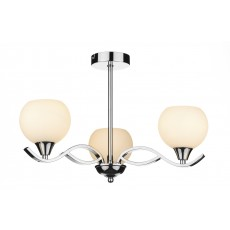 Dar  Aruba 3 Light Polished Chrome Semi Flush Light