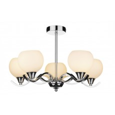 Dar  Aruba 5 Light Polished Chrome Semi Flush Light