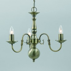 Impex Flemish Chandelier Ant Brass 3 Light