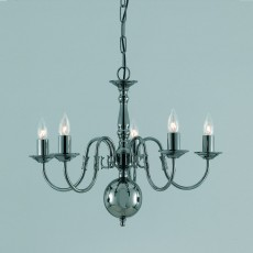 Impex Flemish Chandelier Gunmetal 5 Light