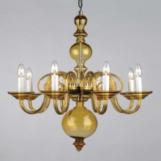 Impex Salas Glass Chandelier Amber