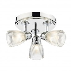 Dar Lighting Cedric 3 Light Polished Nickel Round Plate Spot  IP44