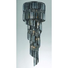 Impex Toronto 14 Light Smoke Crys Gmetal Pendant Light