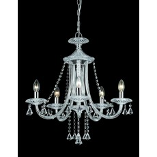 Impex Calgary 5 Light Chrome W/ Crystal Pendant Light