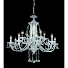 Impex Calgary 12 Light Chrome W/ Crystal Pendant Light