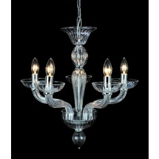 Impex Oasis Clear Glass Chrome 5 Light Pendant Light