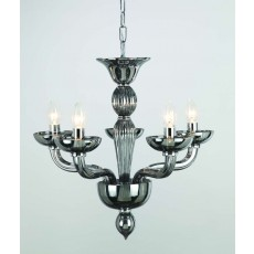Impex Oasis Smoke Glass Chrome 5 Light Pendant Light