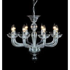 Impex Oasis Clear Glass Chrome 8 Light Pendant Light