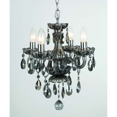 Impex Rodeo 4 Light Smoke Crystal Pendant Light