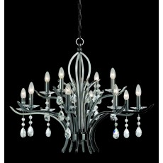Impex Turin Gunmetal With Crystal Pendant Light