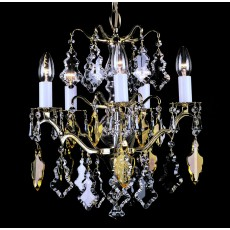 Impex Louvre Pendant Light Pol Brass & Crystal 5 Light