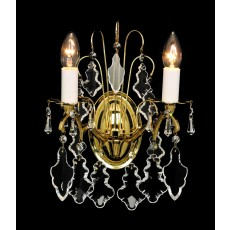 Impex Louvre Wall Light Pol.Brass & Crystal