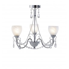 Dar  Crawford 3 Light Polished Chrome Pendant  IP44