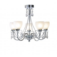 Dar  Crawford 5 Light Polished Chrome Pendant  IP44