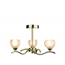 Dar  Cynthia 3 Light Polished Brass Semi Flush Light