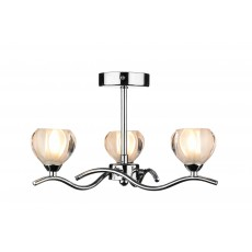 Dar  Cynthia 3 Light Polished Chrome Semi Flush Light