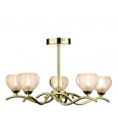 Dar  Cynthia 5 Light Polished Brass Semi Flush Light
