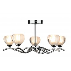 Dar  Cynthia 5 Light Polished Chrome Semi Flush Light
