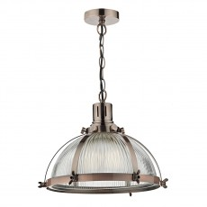 Dar Lighting Debut 1 Light Pendant Brushed Antique Copper