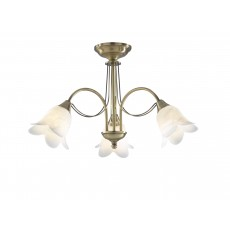 Dar  Doublet 3 Light Semi Flush Antique Brass complete with Alabaster Glass