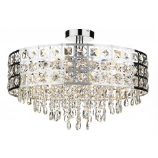 Dar  Duchess 6 Light Polished Chrome Flush Round Light