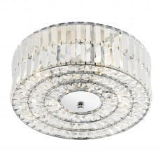 Dar  Errol Crystal Polished Chrome Semi Flush Fitting Light