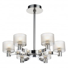 Dar  Eton 6 Light Flush Polished Chrome/ Satin Semi  Chrome