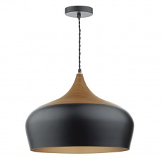 Dar Lighting Gaucho 1 Light Black Pendant Large