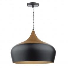 Dar Lighting Gaucho 1 Light Black Pendant Large