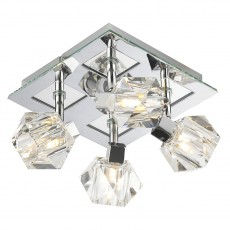 Dar  Geo 4 Light Polished Chrome Square Plate Light