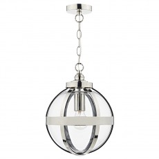Dar Lighting Heath 1 Light Pendant Polished Nickel