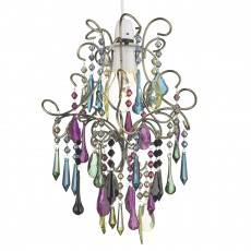 Dar  Jodi Non Elec Pendant complete with Multi Coloured Droppers