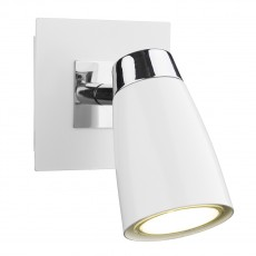 Dar  Loft 1 Light Polished Chrome & Matt White Low Energy Spot Switch Light