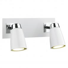 Dar  Loft 2 Light Polished Chrome & Matt White Low Energy Spot Switch Light