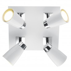 Dar  Loft 4 Light Polished Chrome & Matt White Square Plate Light