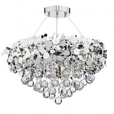 Dar Lighting Luxor 9 Light Polished Chrome Pendant Clear