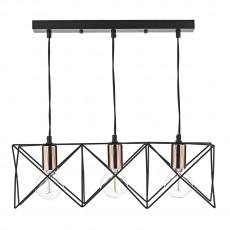 Dar Lighting Midi 3 Light Black Bar Pendant