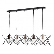 Dar Lighting Midi 5 Light Black Bar Pendant