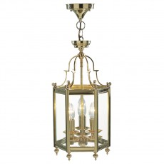 Dar  Moorgate Hexagonal Polished Brass Hall Lantern Dual Mount Light