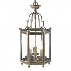 Dar  Moorgate Hexagonal Hall Lantern Dual Mount Antique Brass