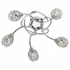 Dar  Numero 5 Light Polished Chrome Semi Flush Light