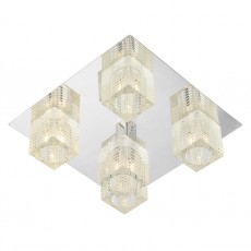 Dar  Oswald 5 Light Flush Polished Chrome complete with TRO19 Glass