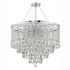 Dar Lighting Pescara 5 Light Polished Chrome Round Pendant Decorative Crystal