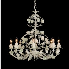 Impex Malaga Piano White Leaf 8 Light Pendant Light