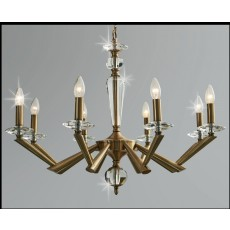 Impex Belda 8 Light Pendant Light Antique Brass