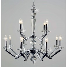 Impex Belda 8+4 Light Pendant Light Chrome