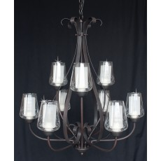 Impex Devan 9 Light Pendant Light 40W Dark Bronze
